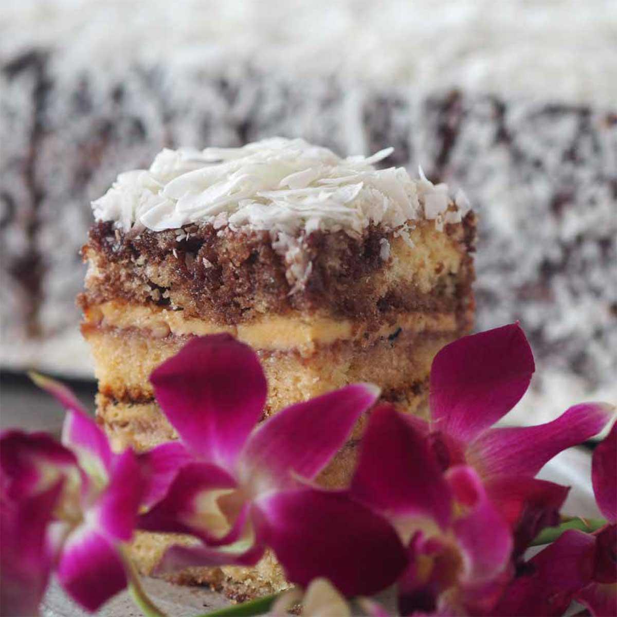 Crème Brûlée Lamington by Flour Drum